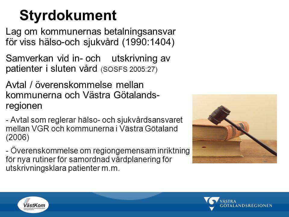 Styrdokument Lag om kommunernas betalningsansvar för viss hälso-och sjukvård (1990:1404) Samverkan vid in- och utskrivning av patienter i sluten vård