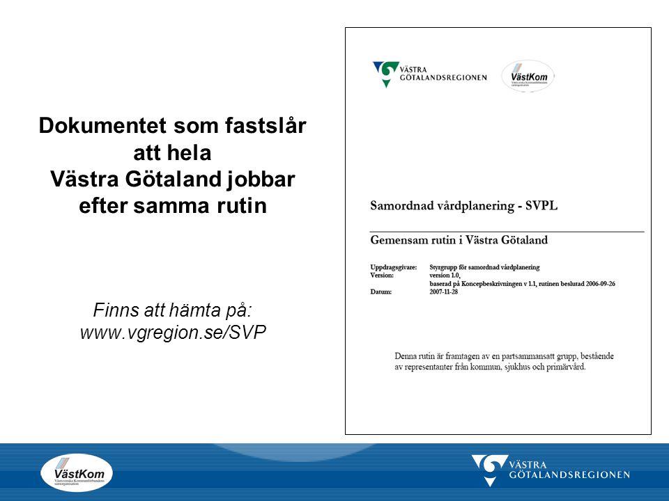 Dokumentet som fastslår att hela Västra Götaland jobbar efter samma rutin Finns att hämta på: www.vgregion.se/SVP