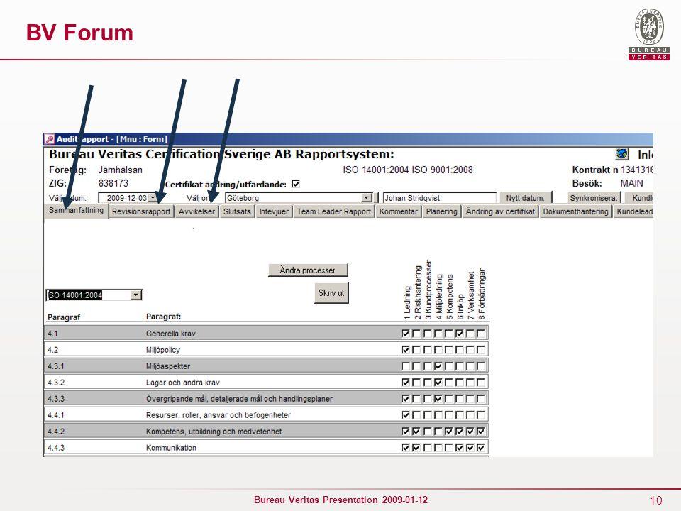 10 Bureau Veritas Presentation 2009-01-12 BV Forum