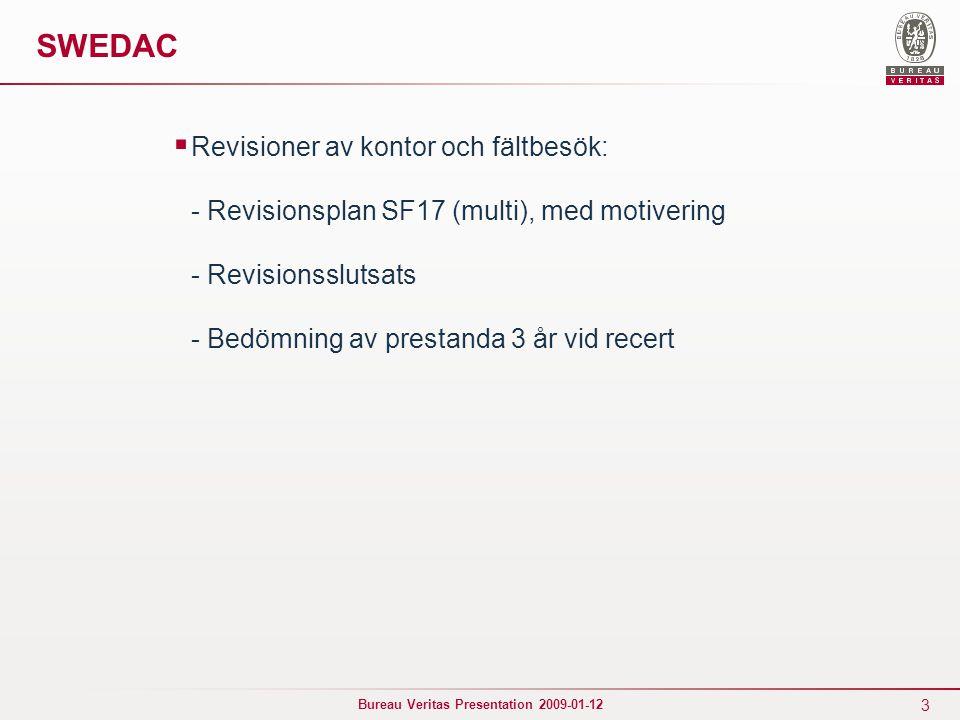 3 Bureau Veritas Presentation 2009-01-12 SWEDAC  Revisioner av kontor och fältbesök: - Revisionsplan SF17 (multi), med motivering - Revisionsslutsats - Bedömning av prestanda 3 år vid recert