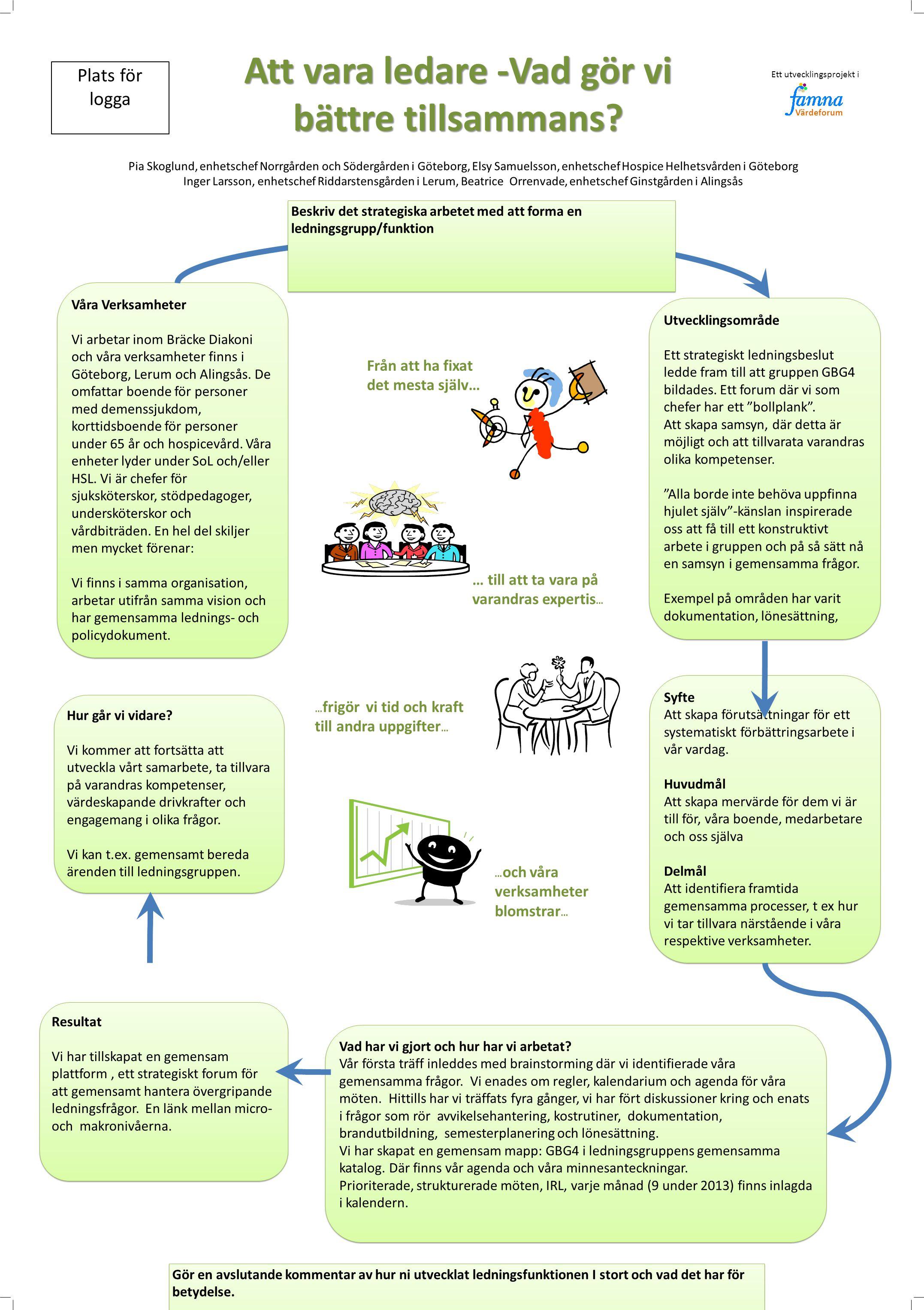 Resultat Vi har tillskapat en gemensam plattform, ett strategiskt forum för att gemensamt hantera övergripande ledningsfrågor.