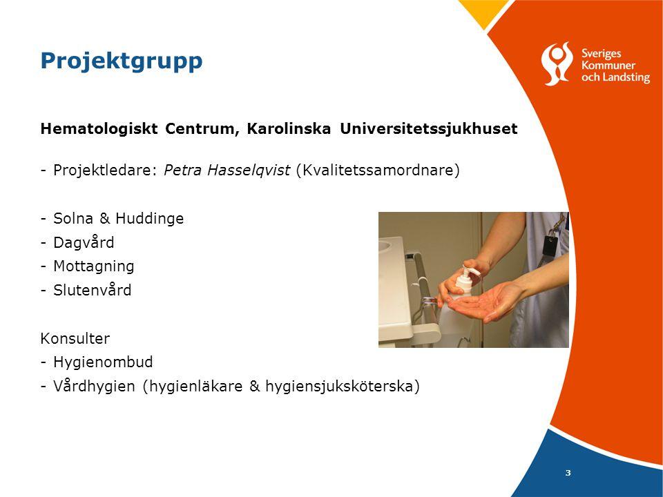 3 Projektgrupp Hematologiskt Centrum, Karolinska Universitetssjukhuset -Projektledare: Petra Hasselqvist (Kvalitetssamordnare) -Solna & Huddinge -Dagv