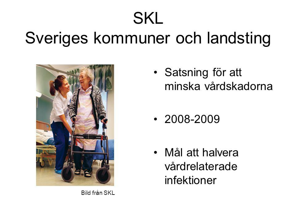 SKL Sveriges kommuner och landsting Satsning för att minska vårdskadorna 2008-2009 Mål att halvera vårdrelaterade infektioner Bild från SKL