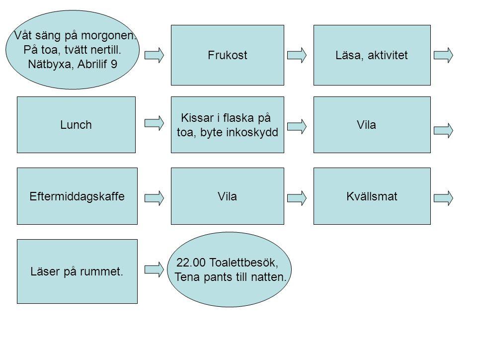 FrukostLäsa, aktivitet Vila EftermiddagskaffeVila Kvällsmat Läser på rummet.