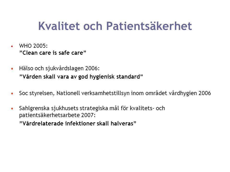 """Kvalitet och Patientsäkerhet WHO 2005: """"Clean care is safe care"""" Hälso och sjukvårdslagen 2006: """"Vården skall vara av god hygienisk standard"""" Soc styr"""