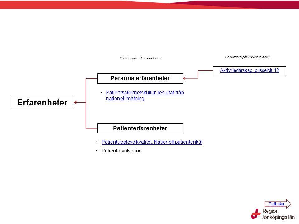 Primära påverkansfaktorer Sekundära påverkansfaktorer Erfarenheter Personalerfarenheter Patienterfarenheter Patientsäkerhetskultur, resultat från nati