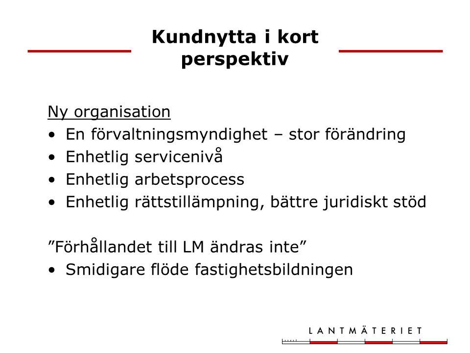 Kundnytta i kort perspektiv Ny organisation En förvaltningsmyndighet – stor förändring Enhetlig servicenivå Enhetlig arbetsprocess Enhetlig rättstillä
