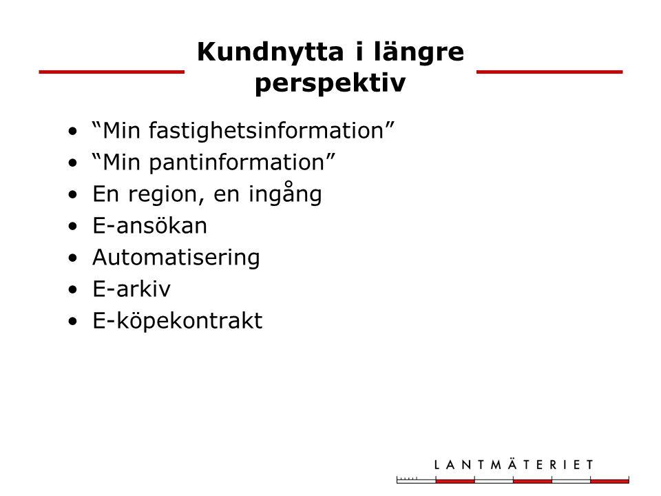 """Kundnytta i längre perspektiv """"Min fastighetsinformation"""" """"Min pantinformation"""" En region, en ingång E-ansökan Automatisering E-arkiv E-köpekontrakt"""