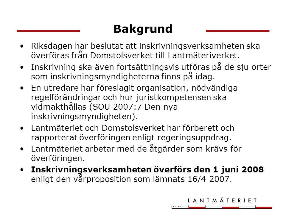 Bakgrund Riksdagen har beslutat att inskrivningsverksamheten ska överföras från Domstolsverket till Lantmäteriverket. Inskrivning ska även fortsättnin