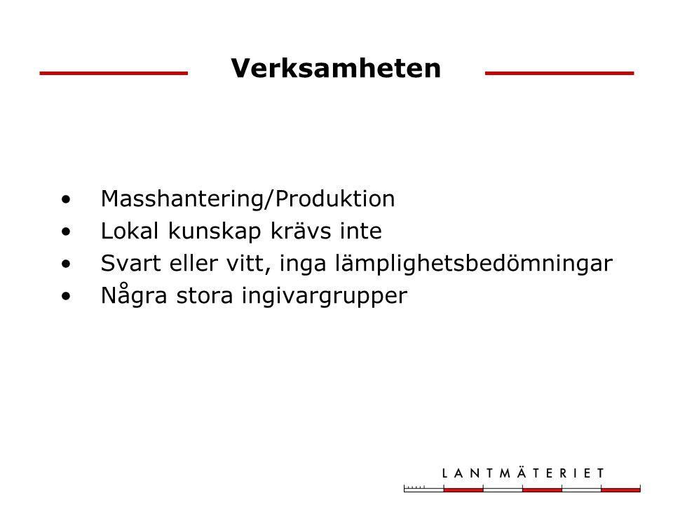 Verksamheten Masshantering/Produktion Lokal kunskap krävs inte Svart eller vitt, inga lämplighetsbedömningar Några stora ingivargrupper