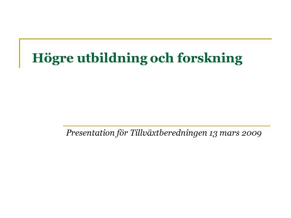 Högre utbildning och forskning Presentation för Tillväxtberedningen 13 mars 2009