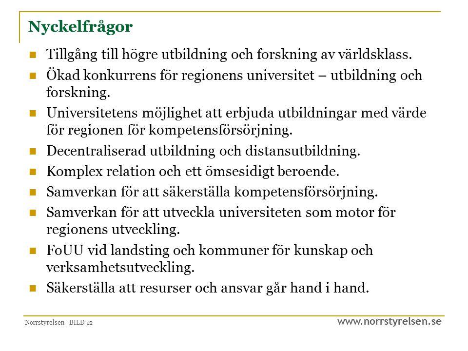 www.norrstyrelsen.se Norrstyrelsen BILD 12 Nyckelfrågor Tillgång till högre utbildning och forskning av världsklass. Ökad konkurrens för regionens uni