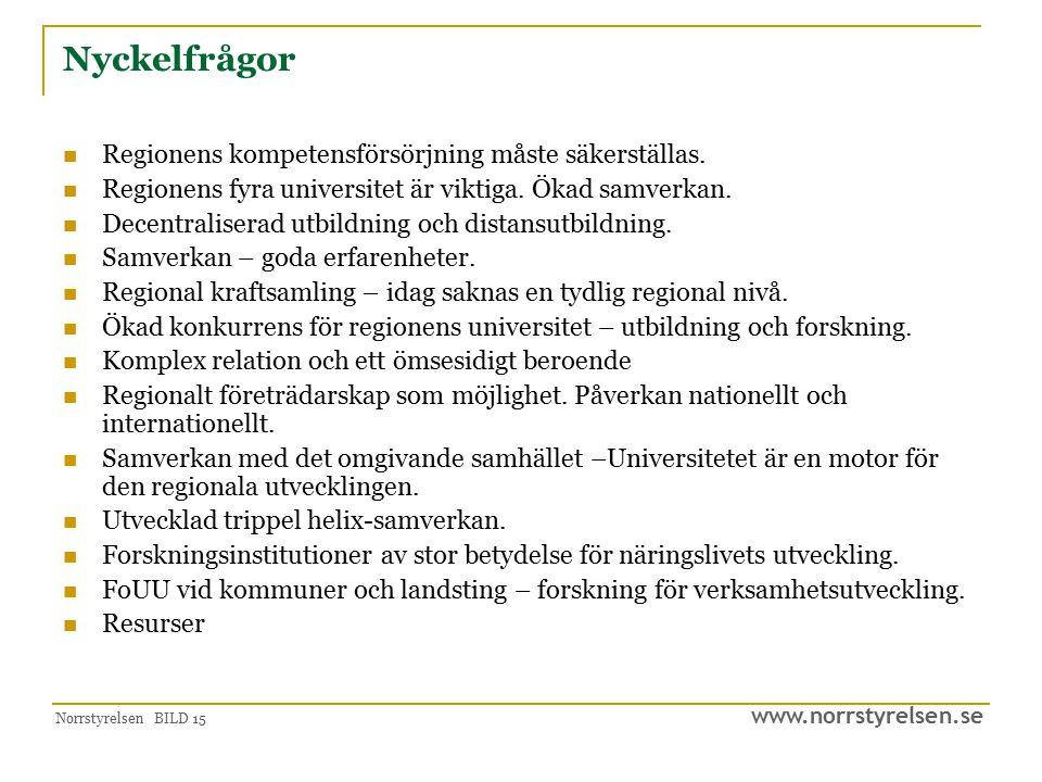 www.norrstyrelsen.se Norrstyrelsen BILD 15 Nyckelfrågor Regionens kompetensförsörjning måste säkerställas. Regionens fyra universitet är viktiga. Ökad