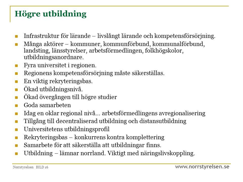 www.norrstyrelsen.se Norrstyrelsen BILD 16 Högre utbildning Infrastruktur för lärande – livslångt lärande och kompetensförsörjning. Många aktörer – ko