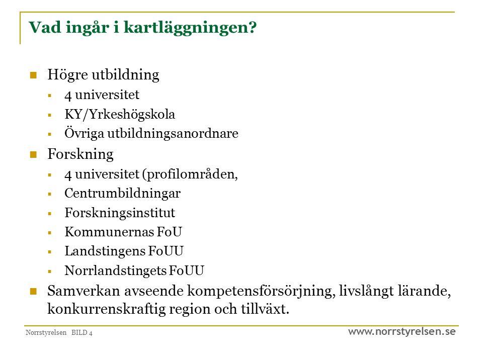 www.norrstyrelsen.se Norrstyrelsen BILD 4 Vad ingår i kartläggningen? Högre utbildning  4 universitet  KY/Yrkeshögskola  Övriga utbildningsanordnar