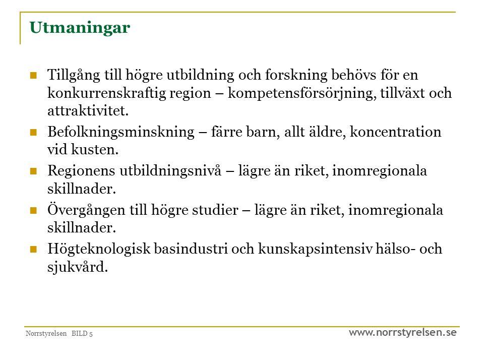 www.norrstyrelsen.se Norrstyrelsen BILD 5 Utmaningar Tillgång till högre utbildning och forskning behövs för en konkurrenskraftig region – kompetensfö