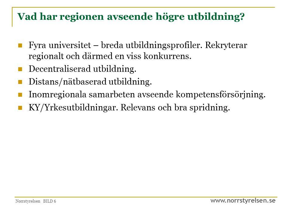 www.norrstyrelsen.se Norrstyrelsen BILD 6 Vad har regionen avseende högre utbildning? Fyra universitet – breda utbildningsprofiler. Rekryterar regiona