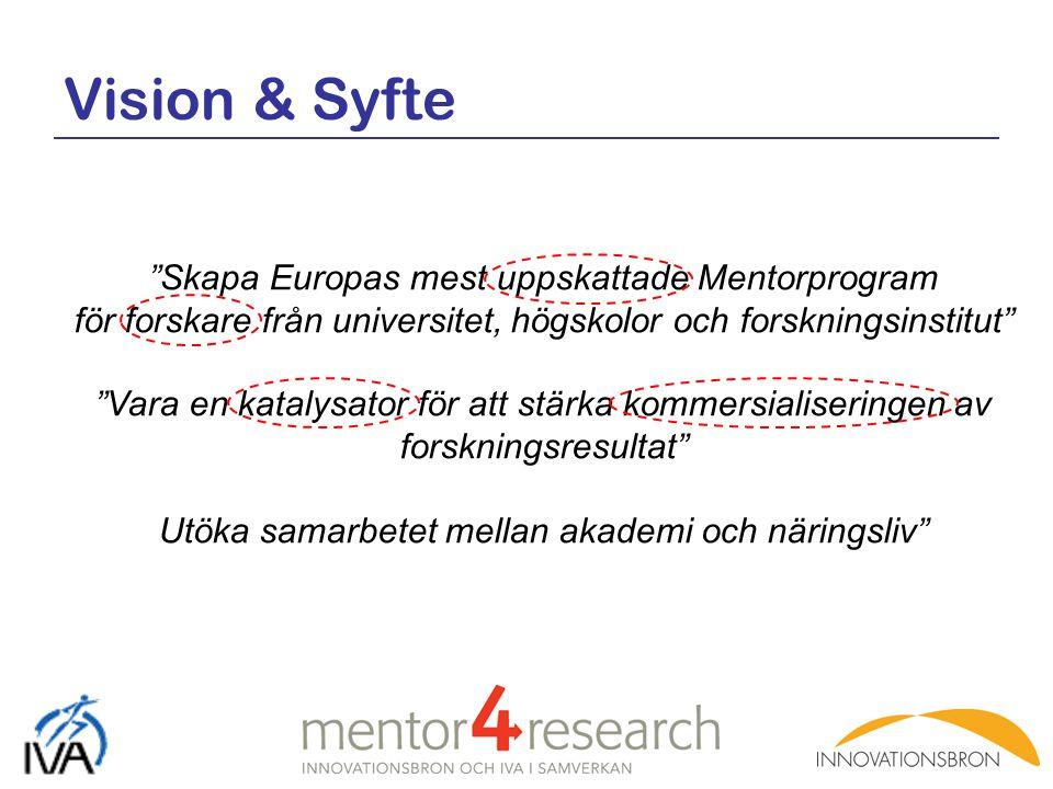 """Vision & Syfte """"Skapa Europas mest uppskattade Mentorprogram för forskare från universitet, högskolor och forskningsinstitut"""" """"Vara en katalysator för"""