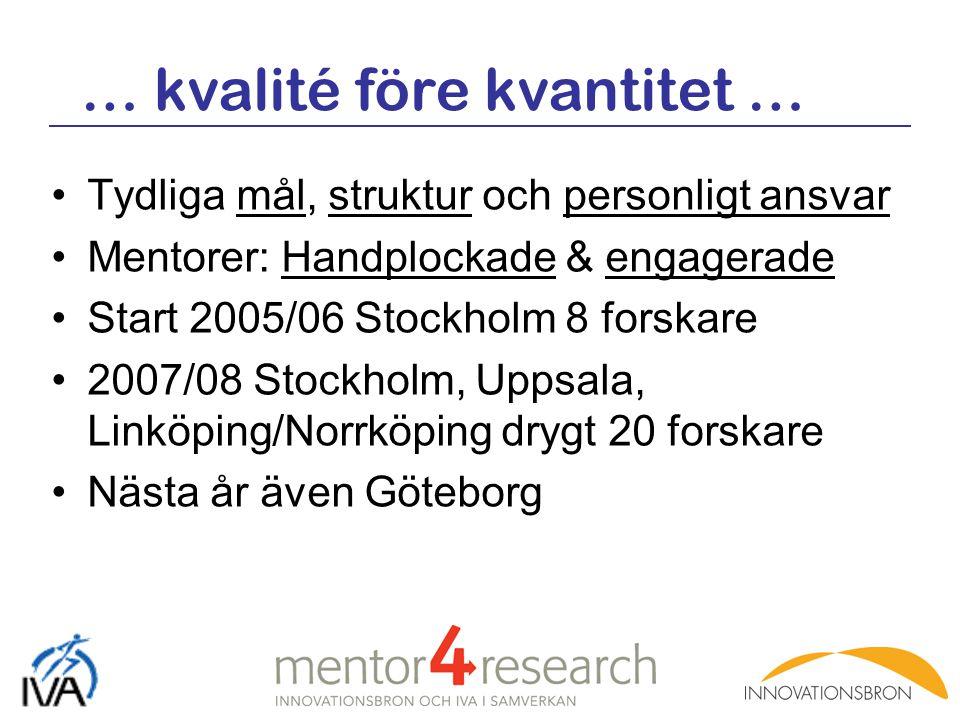 Tydliga mål, struktur och personligt ansvar Mentorer: Handplockade & engagerade Start 2005/06 Stockholm 8 forskare 2007/08 Stockholm, Uppsala, Linköpi