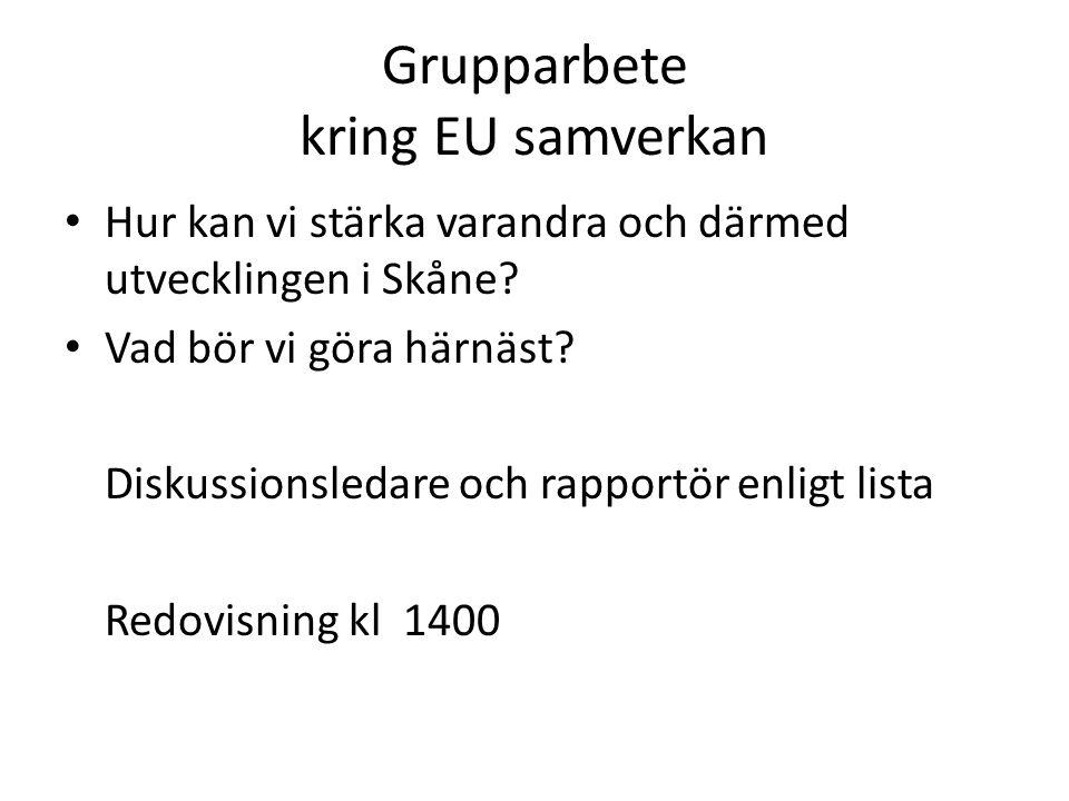 Grupparbete kring EU samverkan Hur kan vi stärka varandra och därmed utvecklingen i Skåne? Vad bör vi göra härnäst? Diskussionsledare och rapportör en