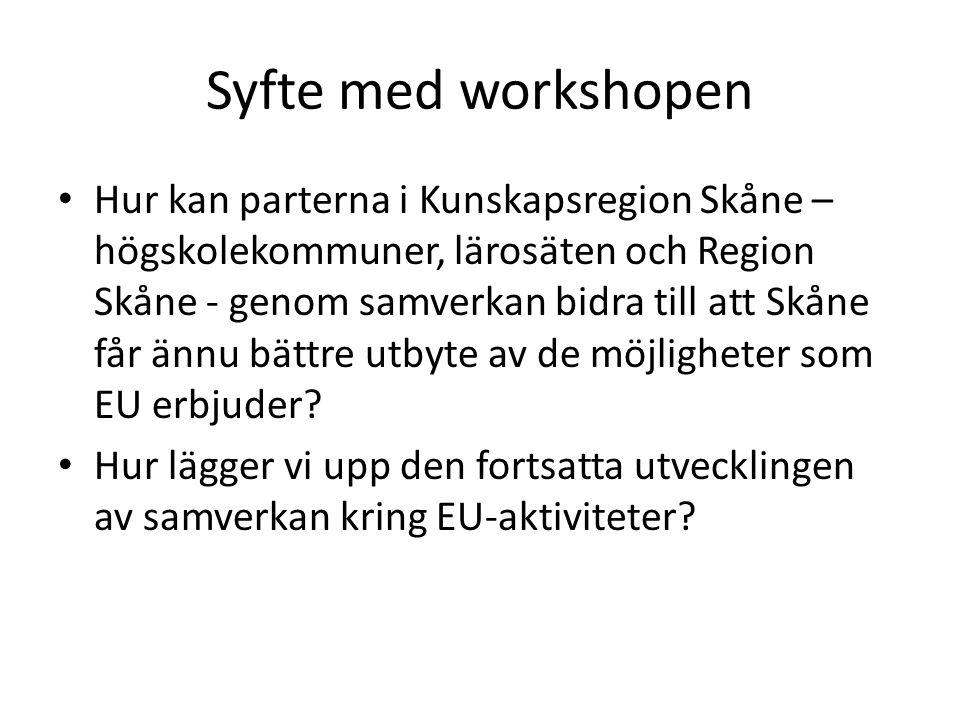 Syfte med workshopen Hur kan parterna i Kunskapsregion Skåne – högskolekommuner, lärosäten och Region Skåne - genom samverkan bidra till att Skåne får ännu bättre utbyte av de möjligheter som EU erbjuder.