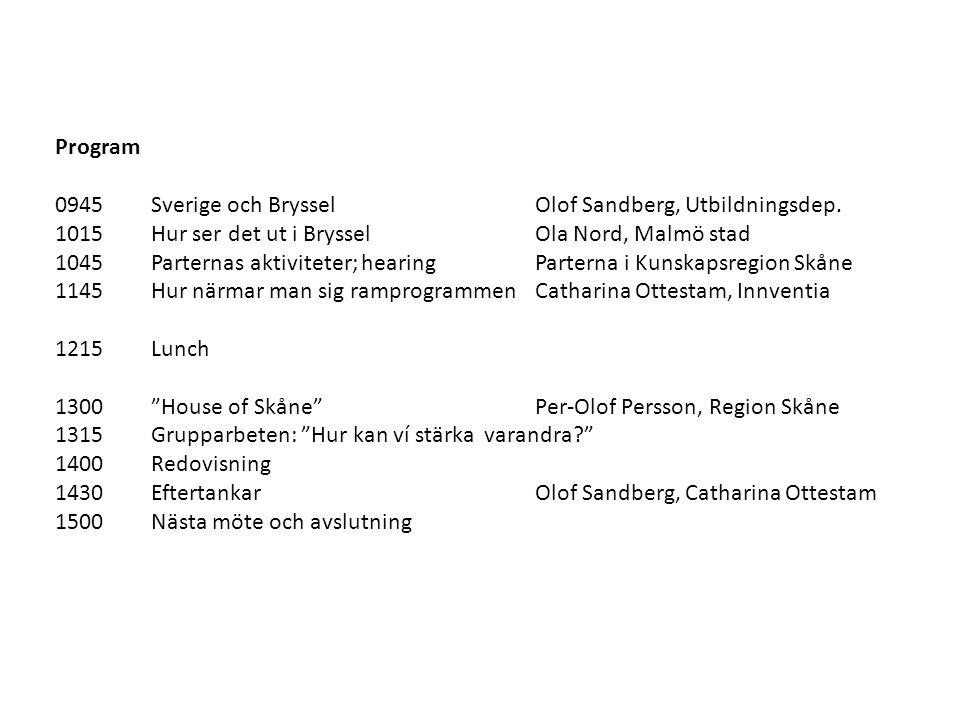 Program 0945Sverige och BrysselOlof Sandberg, Utbildningsdep. 1015 Hur ser det ut i BrysselOla Nord, Malmö stad 1045Parternas aktiviteter; hearingPart