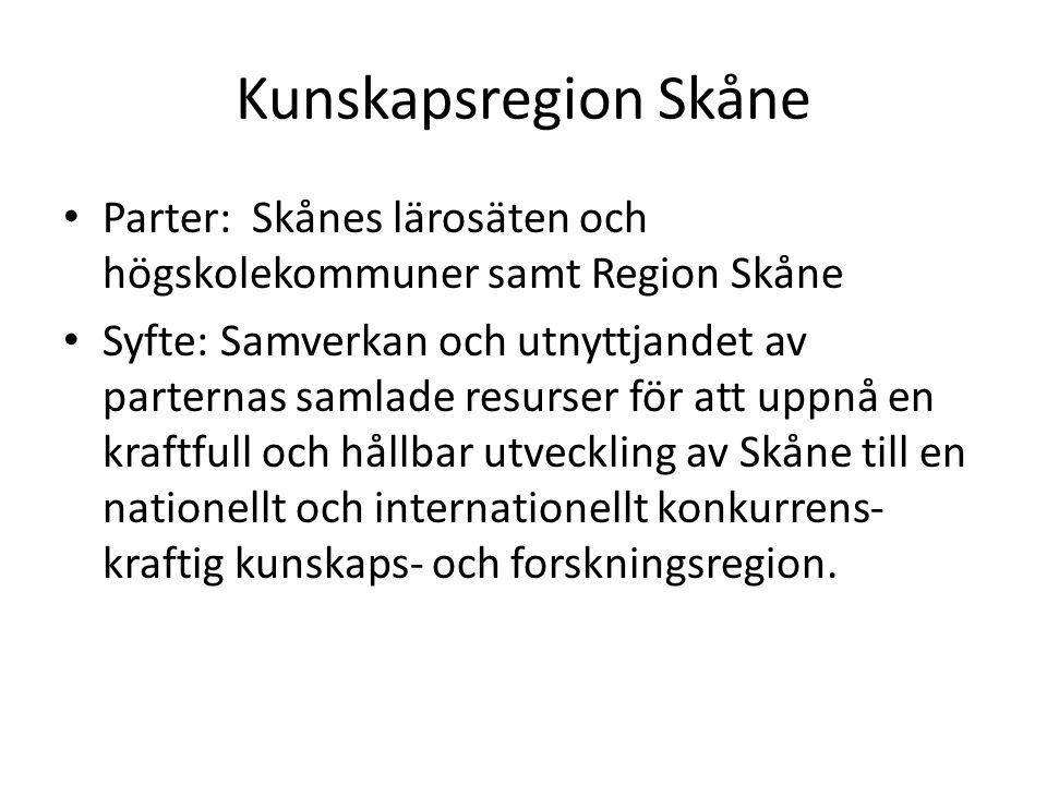 Kunskapsregion Skåne Parter: Skånes lärosäten och högskolekommuner samt Region Skåne Syfte: Samverkan och utnyttjandet av parternas samlade resurser för att uppnå en kraftfull och hållbar utveckling av Skåne till en nationellt och internationellt konkurrens- kraftig kunskaps- och forskningsregion.