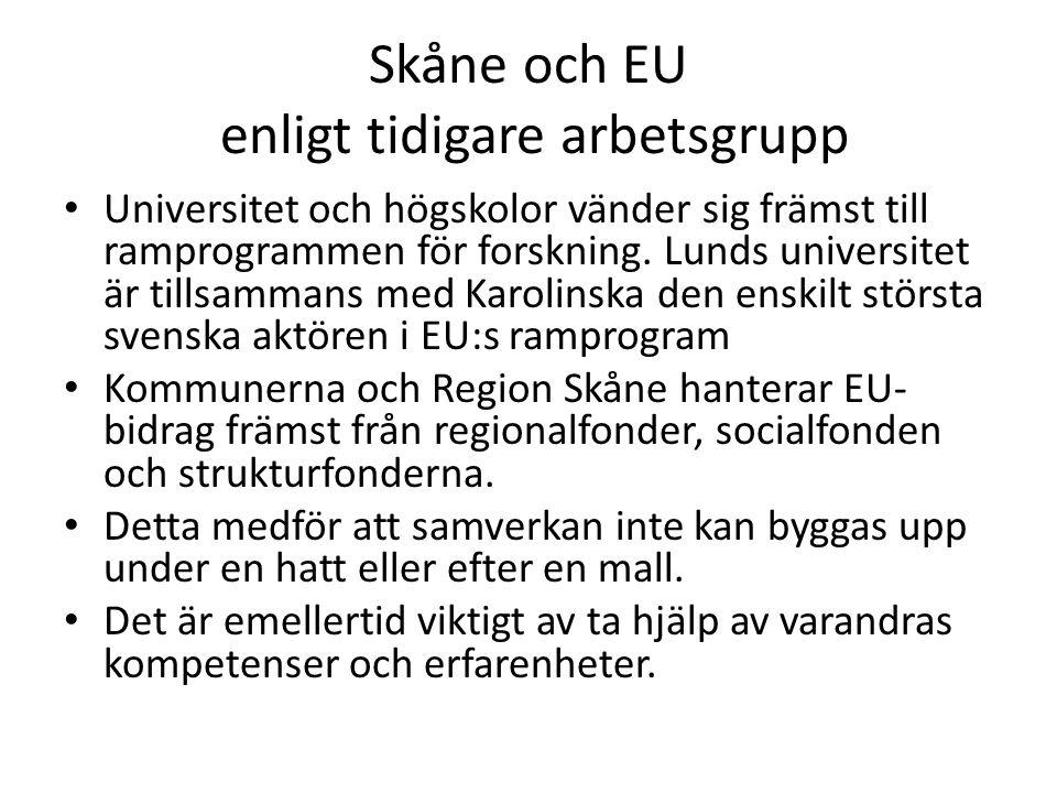 Skåne och EU enligt tidigare arbetsgrupp Universitet och högskolor vänder sig främst till ramprogrammen för forskning. Lunds universitet är tillsamman