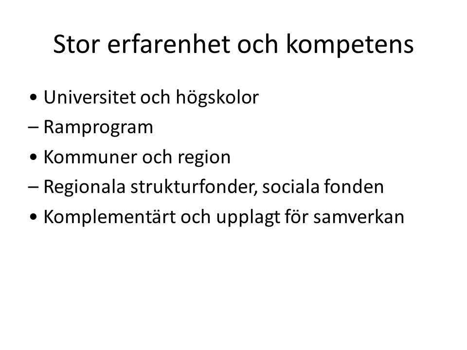 Stor erfarenhet och kompetens Universitet och högskolor – Ramprogram Kommuner och region – Regionala strukturfonder, sociala fonden Komplementärt och upplagt för samverkan
