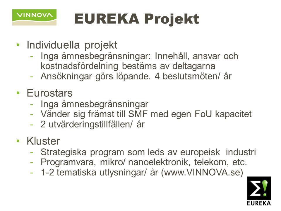 EUREKA Projekt Individuella projekt -Inga ämnesbegränsningar: Innehåll, ansvar och kostnadsfördelning bestäms av deltagarna -Ansökningar görs löpande.