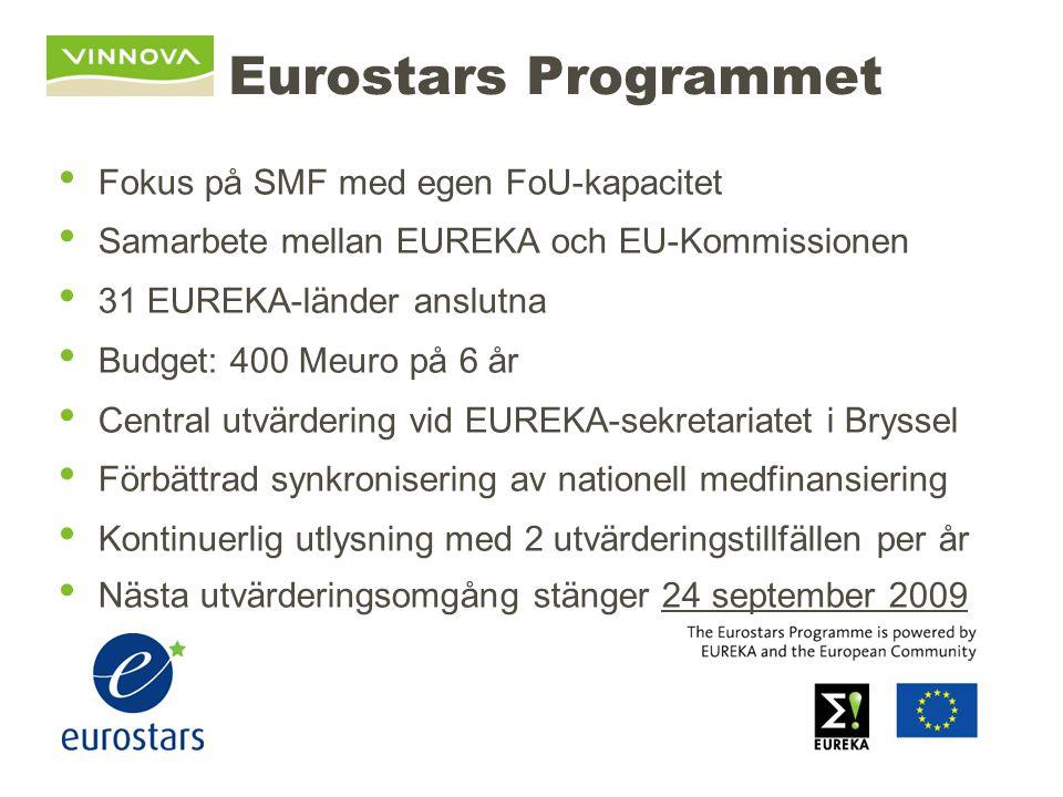 Eurostars Programmet Fokus på SMF med egen FoU-kapacitet Samarbete mellan EUREKA och EU-Kommissionen 31 EUREKA-länder anslutna Budget: 400 Meuro på 6 år Central utvärdering vid EUREKA-sekretariatet i Bryssel Förbättrad synkronisering av nationell medfinansiering Kontinuerlig utlysning med 2 utvärderingstillfällen per år Nästa utvärderingsomgång stänger 24 september 2009