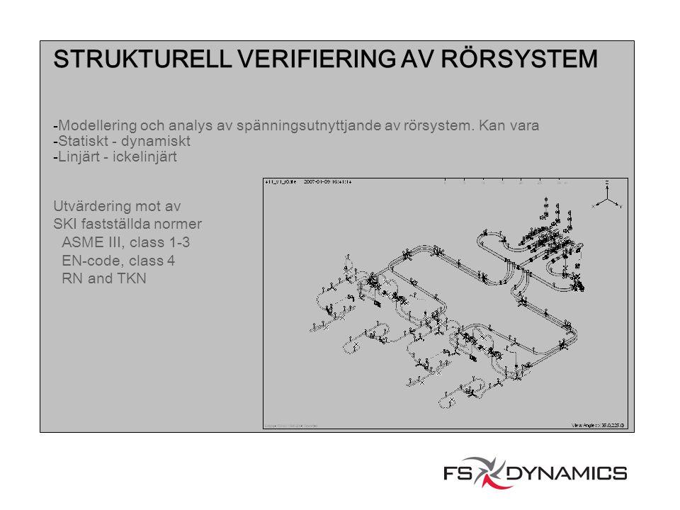 STRUKTURELL VERIFIERING AV RÖRSYSTEM -Modellering och analys av spänningsutnyttjande av rörsystem. Kan vara -Statiskt - dynamiskt -Linjärt - ickelinjä