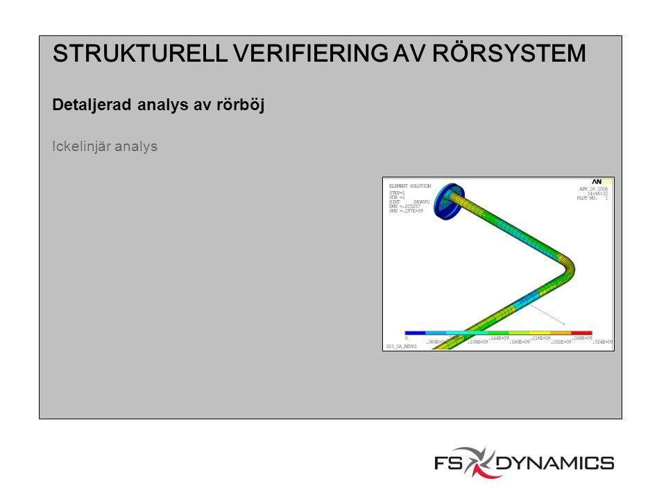 STRUKTURELL VERIFIERING AV RÖRSYSTEM Detaljerad analys av rörböj Ickelinjär analys