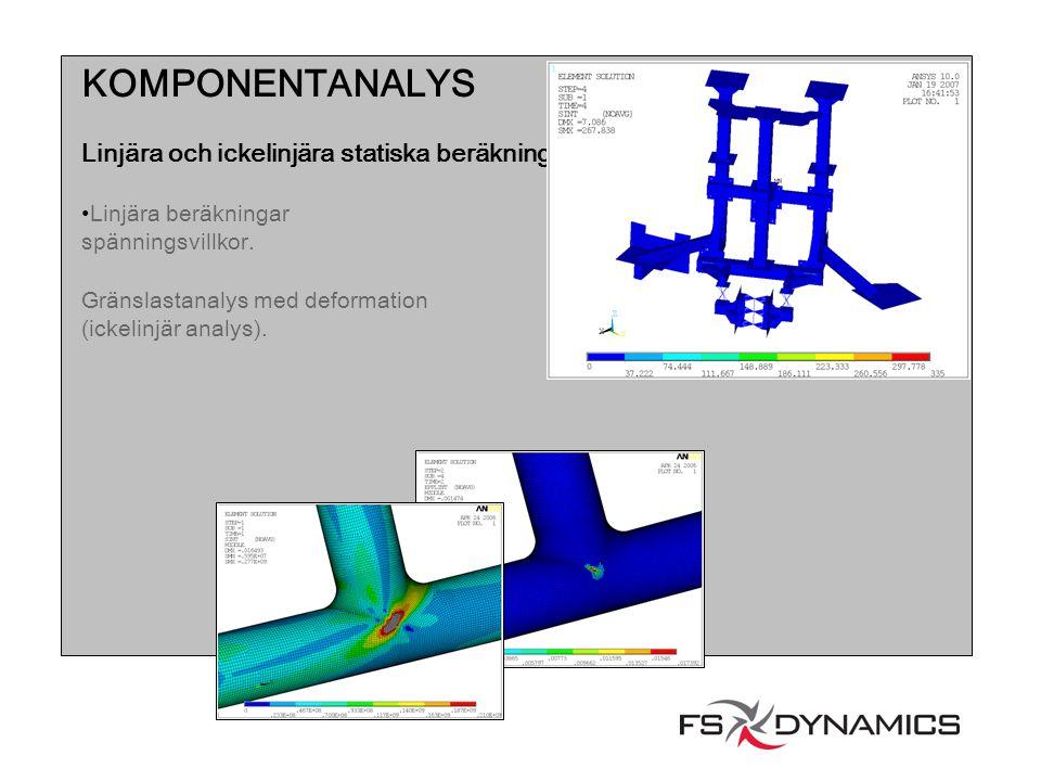 KOMPONENTANALYS Linjära och ickelinjära statiska beräkningar Linjära beräkningar spänningsvillkor. Gränslastanalys med deformation (ickelinjär analys)