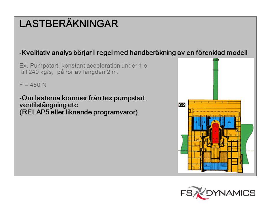 LASTBERÄKNINGAR - Kvalitativ analys börjar I regel med handberäkning av en förenklad modell Ex. Pumpstart, konstant acceleration under 1 s till 240 kg
