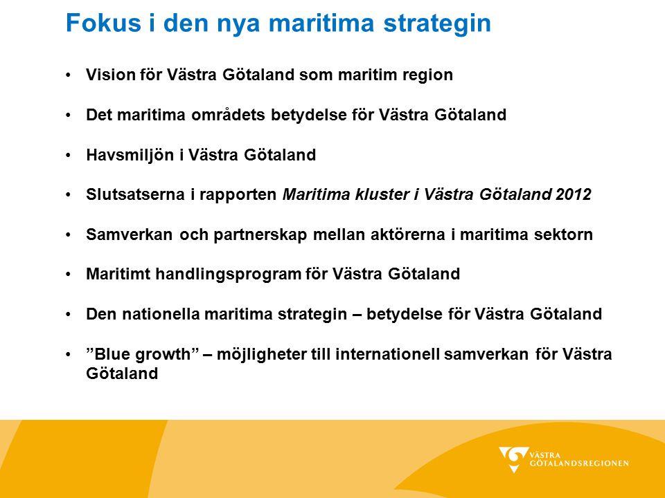 Vision för Västra Götaland som maritim region Det maritima områdets betydelse för Västra Götaland Havsmiljön i Västra Götaland Slutsatserna i rapporte
