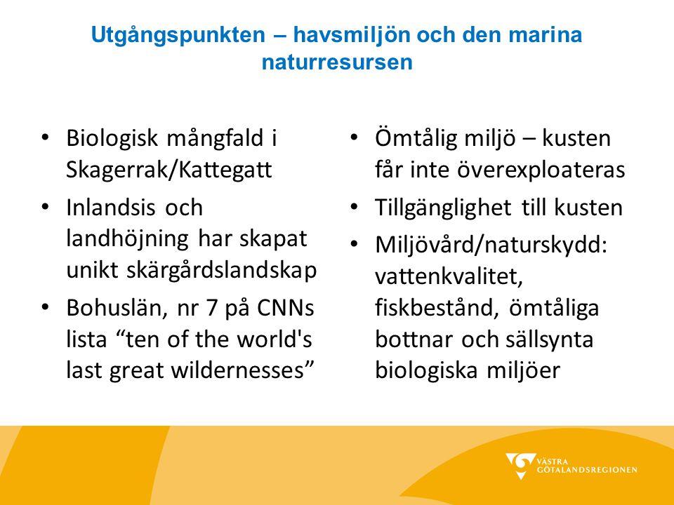 Utgångspunkten – havsmiljön och den marina naturresursen Biologisk mångfald i Skagerrak/Kattegatt Inlandsis och landhöjning har skapat unikt skärgårds