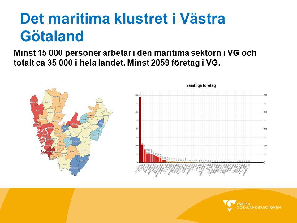 Det maritima klustret i Västra Götaland Minst 15 000 personer arbetar i den maritima sektorn i VG och totalt ca 35 000 i hela landet. Minst 2059 föret