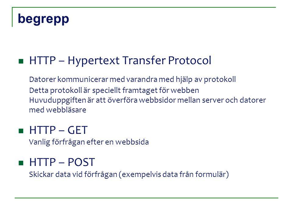 begrepp HTTP – Hypertext Transfer Protocol Datorer kommunicerar med varandra med hjälp av protokoll Detta protokoll är speciellt framtaget för webben Huvuduppgiften är att överföra webbsidor mellan server och datorer med webbläsare HTTP – GET Vanlig förfrågan efter en webbsida HTTP – POST Skickar data vid förfrågan (exempelvis data från formulär)