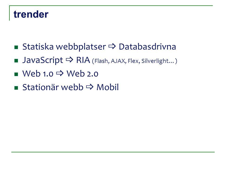 trender Statiska webbplatser  Databasdrivna JavaScript  RIA (Flash, AJAX, Flex, Silverlight…) Web 1.0  Web 2.0 Stationär webb  Mobil