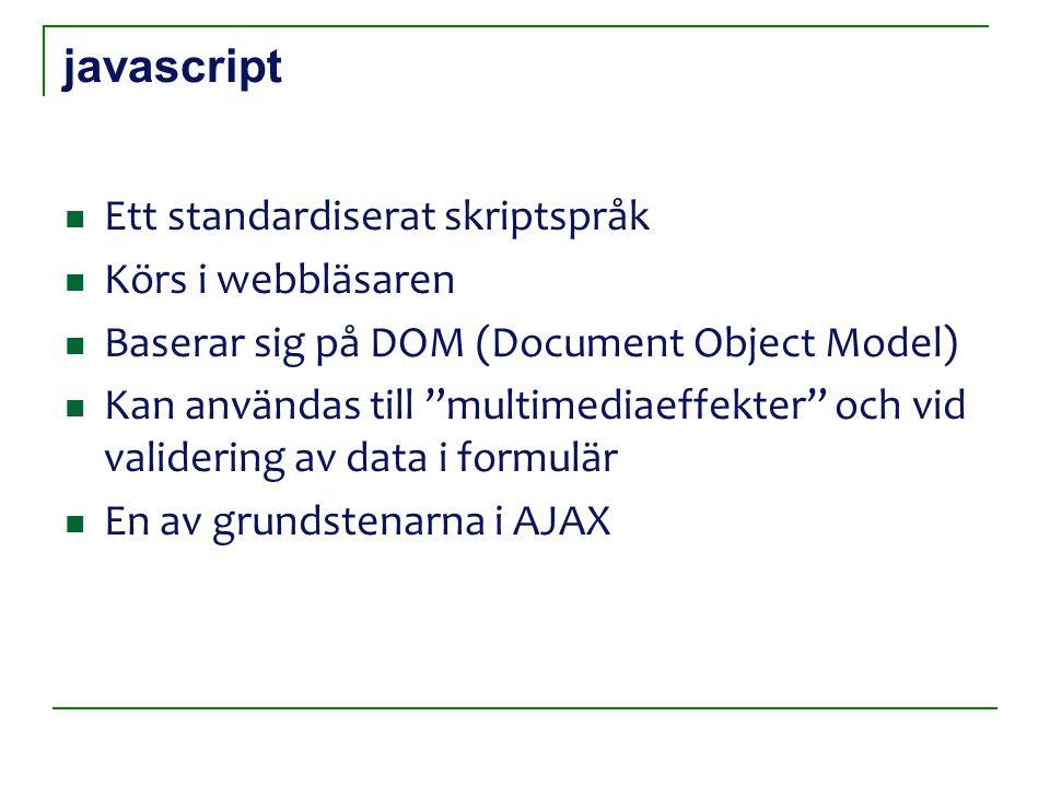 javascript Ett standardiserat skriptspråk Körs i webbläsaren Baserar sig på DOM (Document Object Model) Kan användas till multimediaeffekter och vid validering av data i formulär En av grundstenarna i AJAX