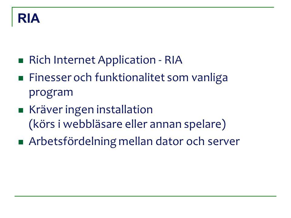 RIA Rich Internet Application - RIA Finesser och funktionalitet som vanliga program Kräver ingen installation (körs i webbläsare eller annan spelare)