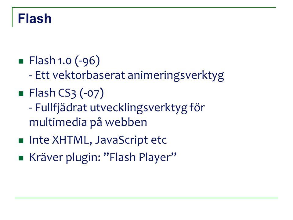 Flash Flash 1.0 (-96) - Ett vektorbaserat animeringsverktyg Flash CS3 (-07) - Fullfjädrat utvecklingsverktyg för multimedia på webben Inte XHTML, Java