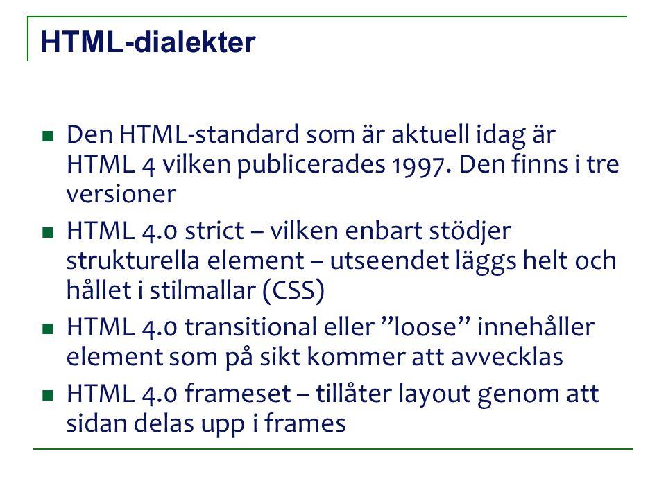 HTML-dialekter Den HTML-standard som är aktuell idag är HTML 4 vilken publicerades 1997.