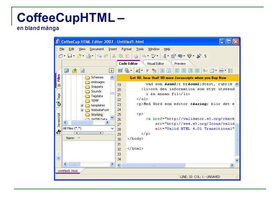 CoffeeCupHTML – en bland många
