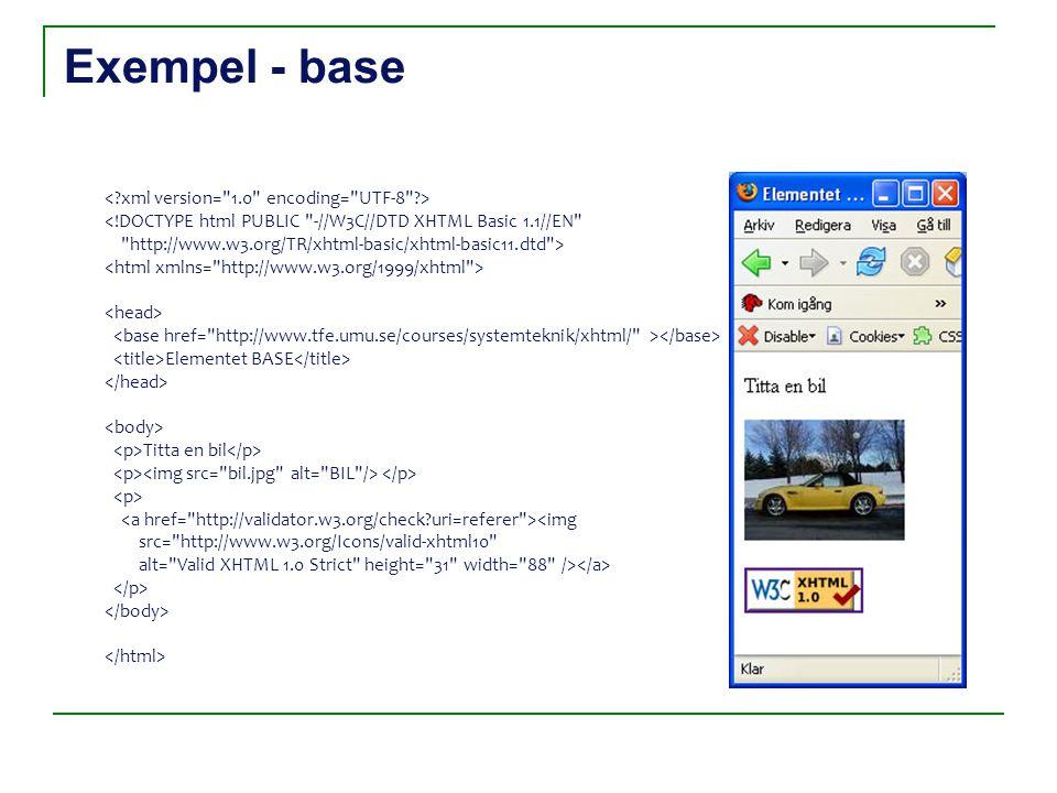 Exempel - base <!DOCTYPE html PUBLIC -//W3C//DTD XHTML Basic 1.1//EN http://www.w3.org/TR/xhtml-basic/xhtml-basic11.dtd > Elementet BASE Titta en bil <img src= http://www.w3.org/Icons/valid-xhtml10 alt= Valid XHTML 1.0 Strict height= 31 width= 88 />