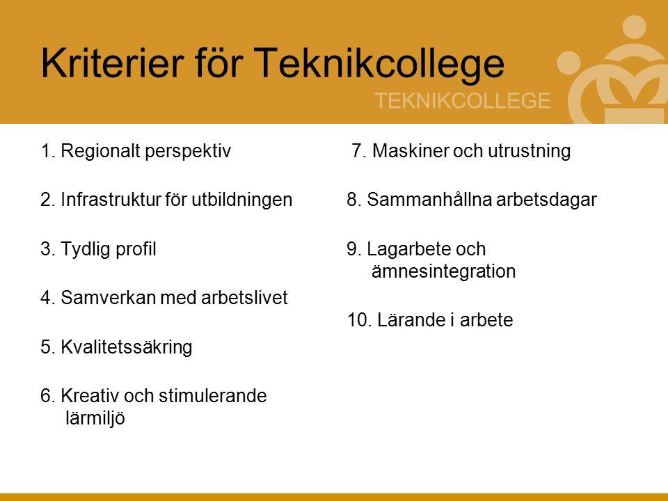 Kriterier för Teknikcollege 1. Regionalt perspektiv 2.