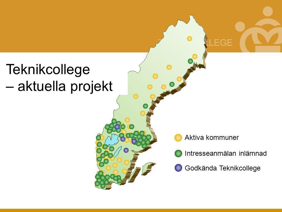 Teknikcollege – aktuella projekt Aktiva kommuner Intresseanmälan inlämnad Godkända Teknikcollege
