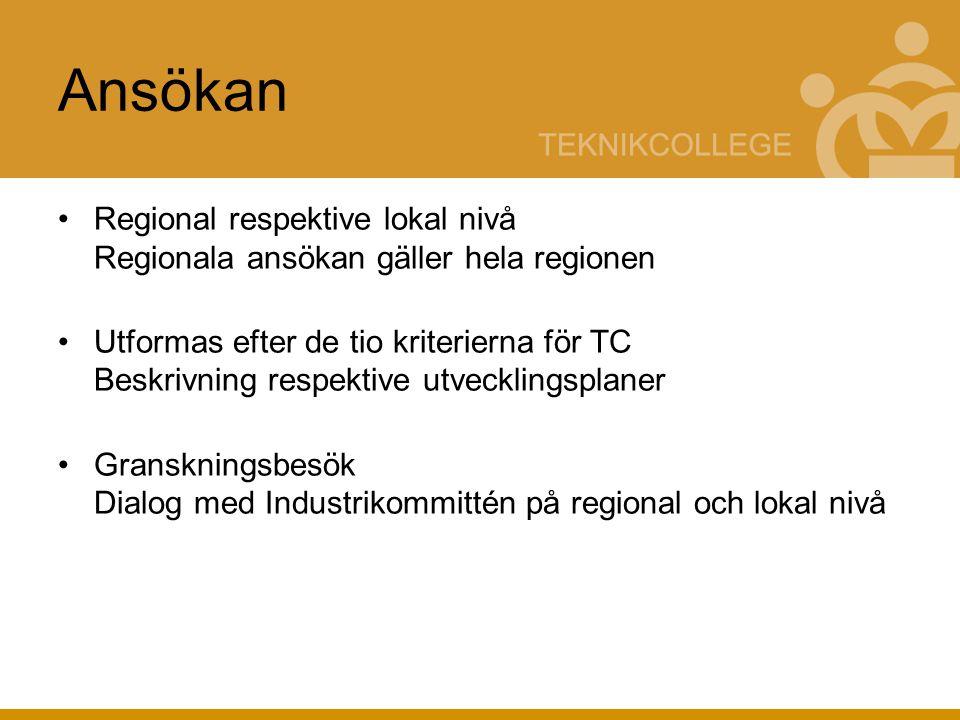 Ansökan Regional respektive lokal nivå Regionala ansökan gäller hela regionen Utformas efter de tio kriterierna för TC Beskrivning respektive utvecklingsplaner Granskningsbesök Dialog med Industrikommittén på regional och lokal nivå