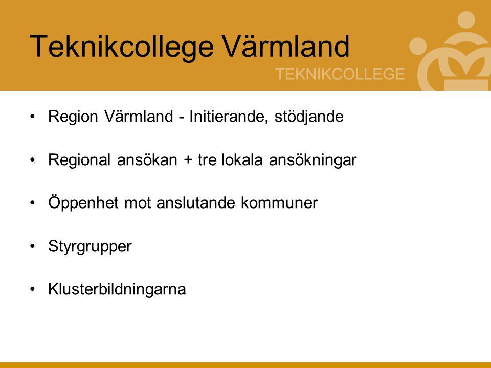 Teknikcollege Värmland Region Värmland - Initierande, stödjande Regional ansökan + tre lokala ansökningar Öppenhet mot anslutande kommuner Styrgrupper Klusterbildningarna
